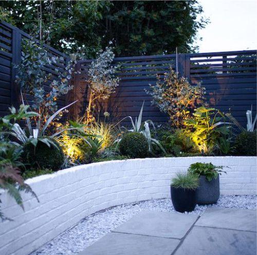 Gambar taman dengan lampu sorot