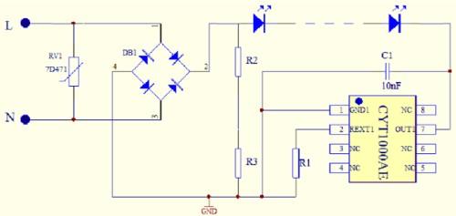 Gambar rangkaian aplikasi IC CYT1000AE