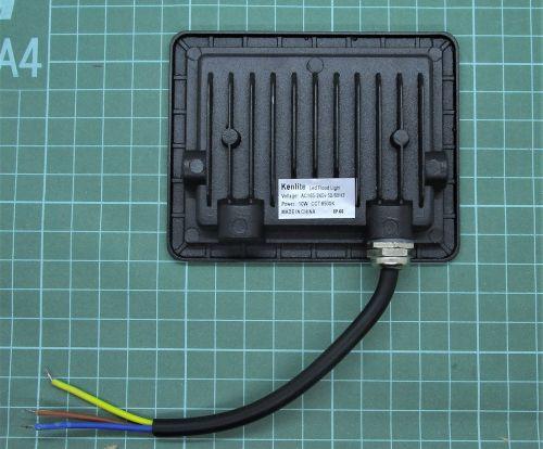 Gambar lampu sorot dengan 3 kabel tampak belakang