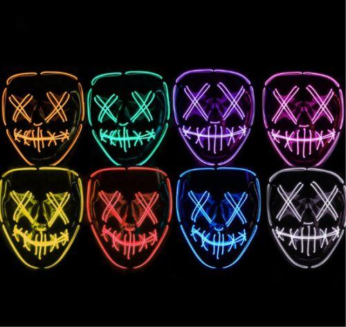 Gambar topeng dengan lampu neon