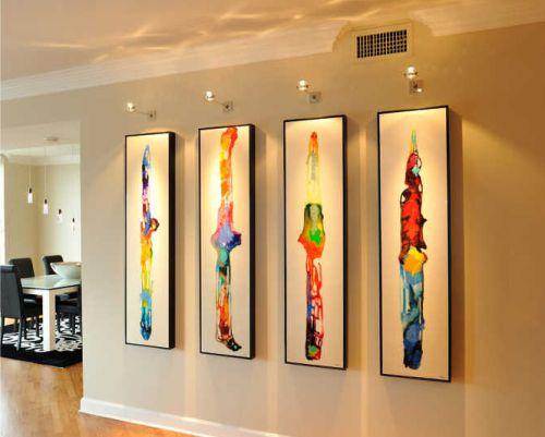 Gambar lampu sorot dekorasi untuk lukisan di dinding