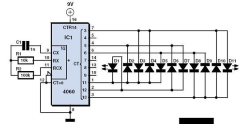 Gambar diagram listrik lampu tumblr dengan kedipan random