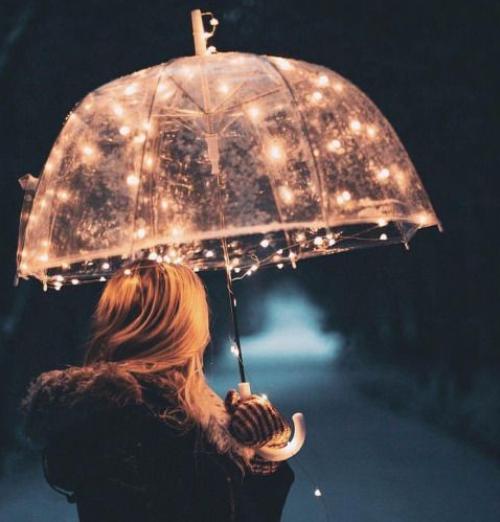 ide foto lampu tumblr dan payung transparan