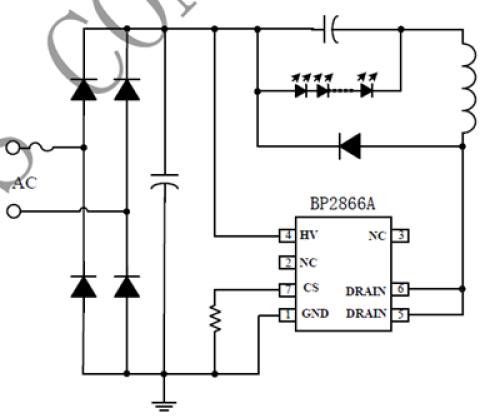 Gambar diagram listrik minimal untuk aplikasi IC BP2866A