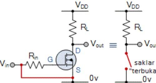 Skema rangkaian listrik mosfet sebagai switch
