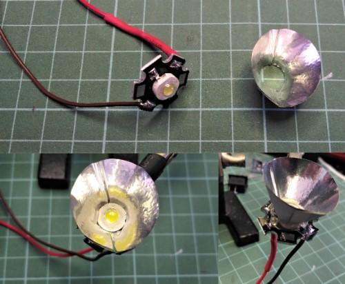 Merangkai reflektor senter LED