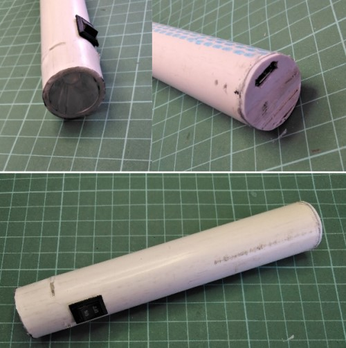 Komponen senter DIY di dalam casing pipa PVC