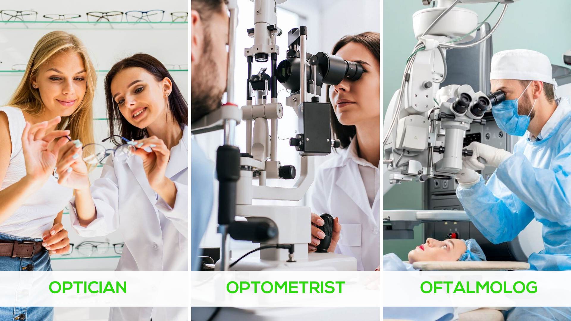 Diferente Optician vs. Optometrist vs. Oftalmolog