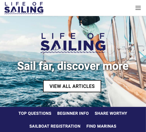 Life of Sailing home page screenshot