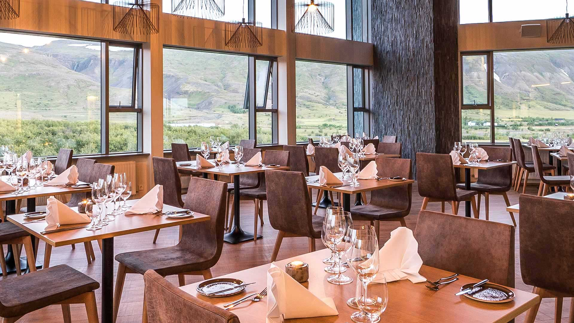 Dining hall with views across Húsafell
