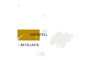 Map of Iceland – marked where Húsafell is located