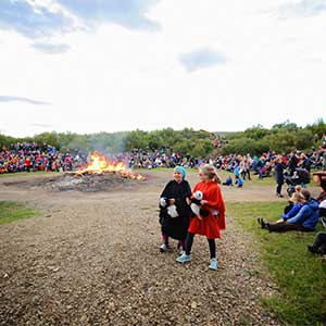 Celebrate the spirit of summer with live music, singing and traditional Icelandic fun at the Husafell family campfires.