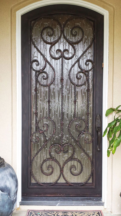 Black Iron Front Door of Home With Glass