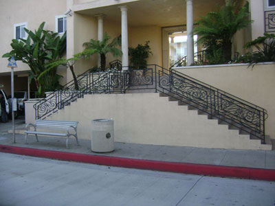 Handrails to the stairs for the front desk