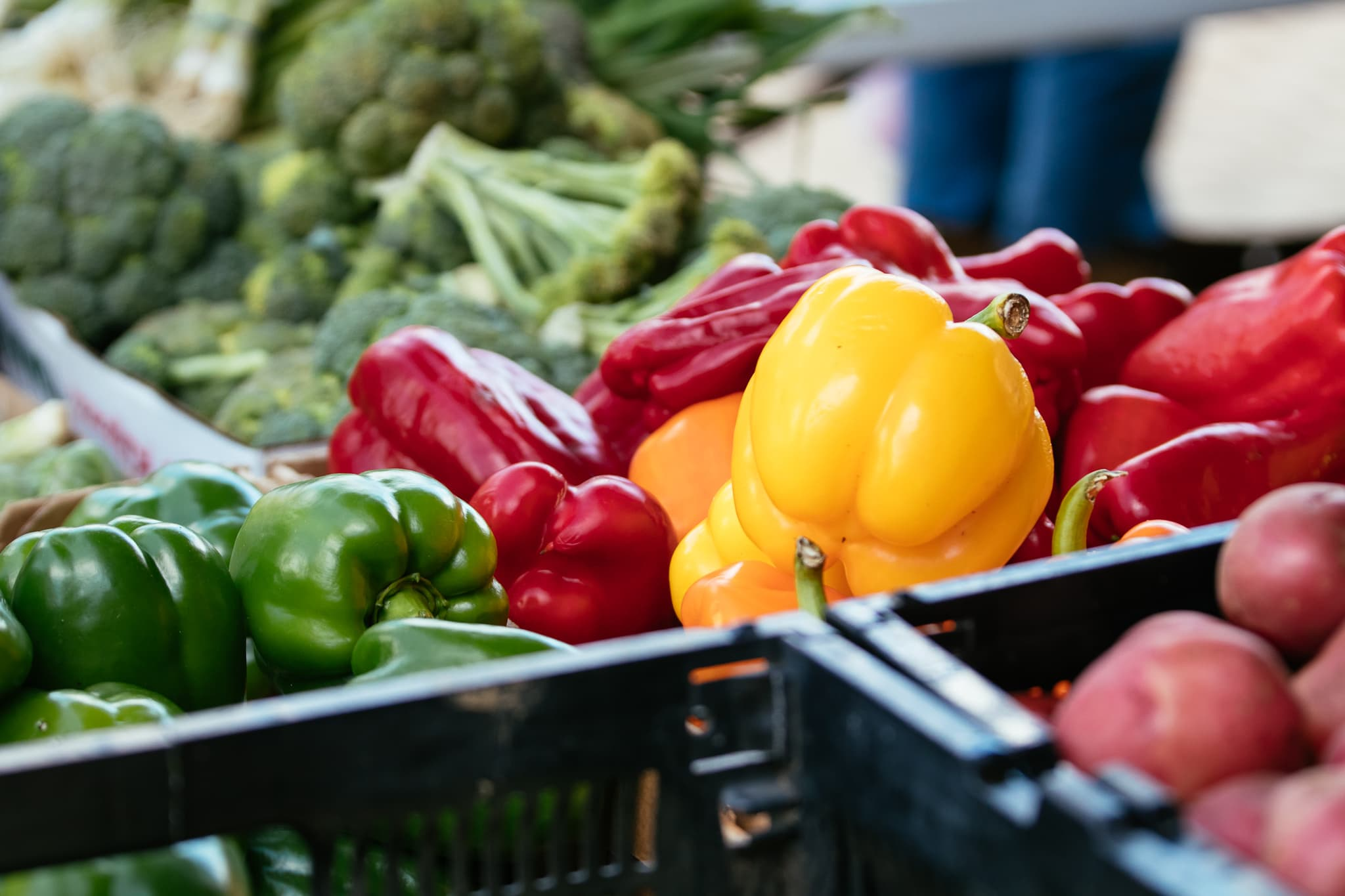 Farmers Market, fresh vegetables, colorful bell peppers and broccoli