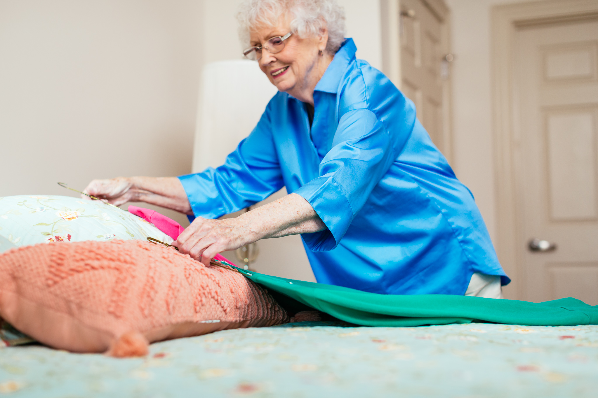 Senior, setting out clothes, retirement living