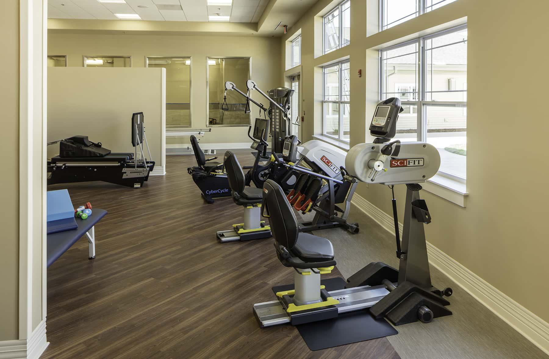 Exercise room machines