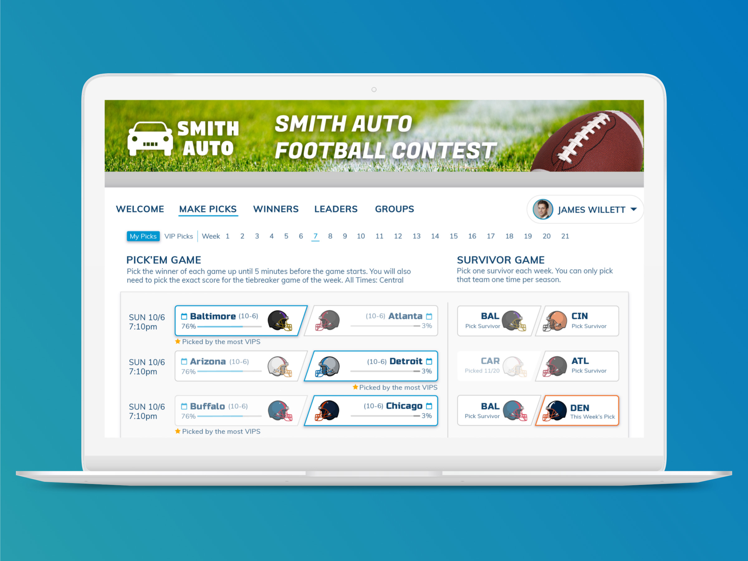Pro football pick'em sponsored by an auto dealership.