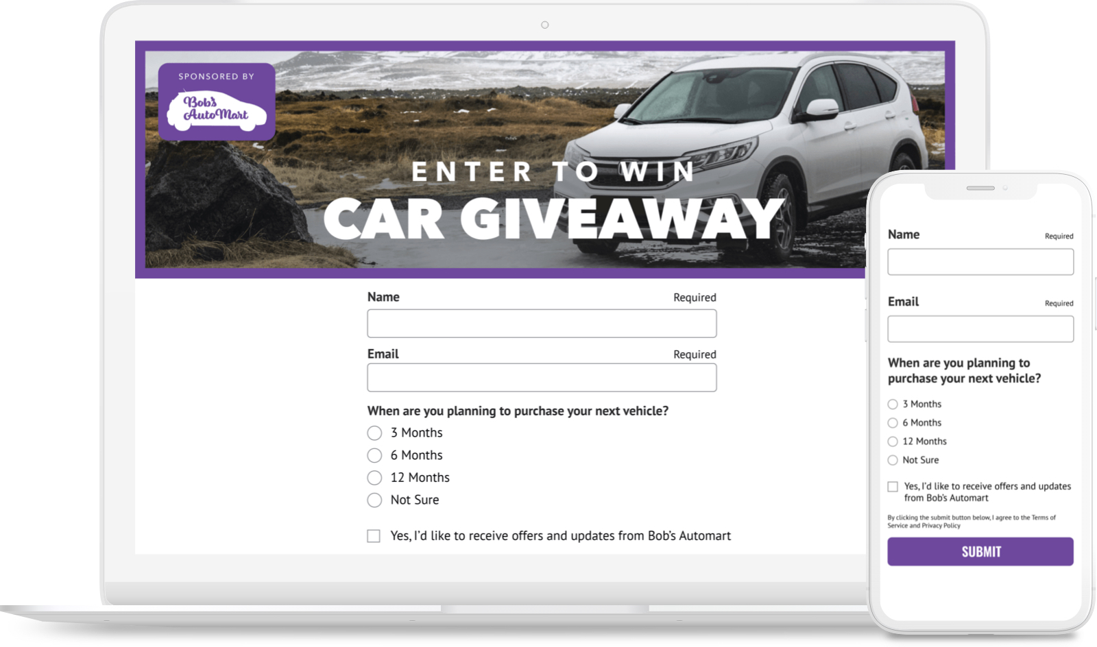 Car Giveaway sweepstakes with lead-gen survey questions and an email opt-in.