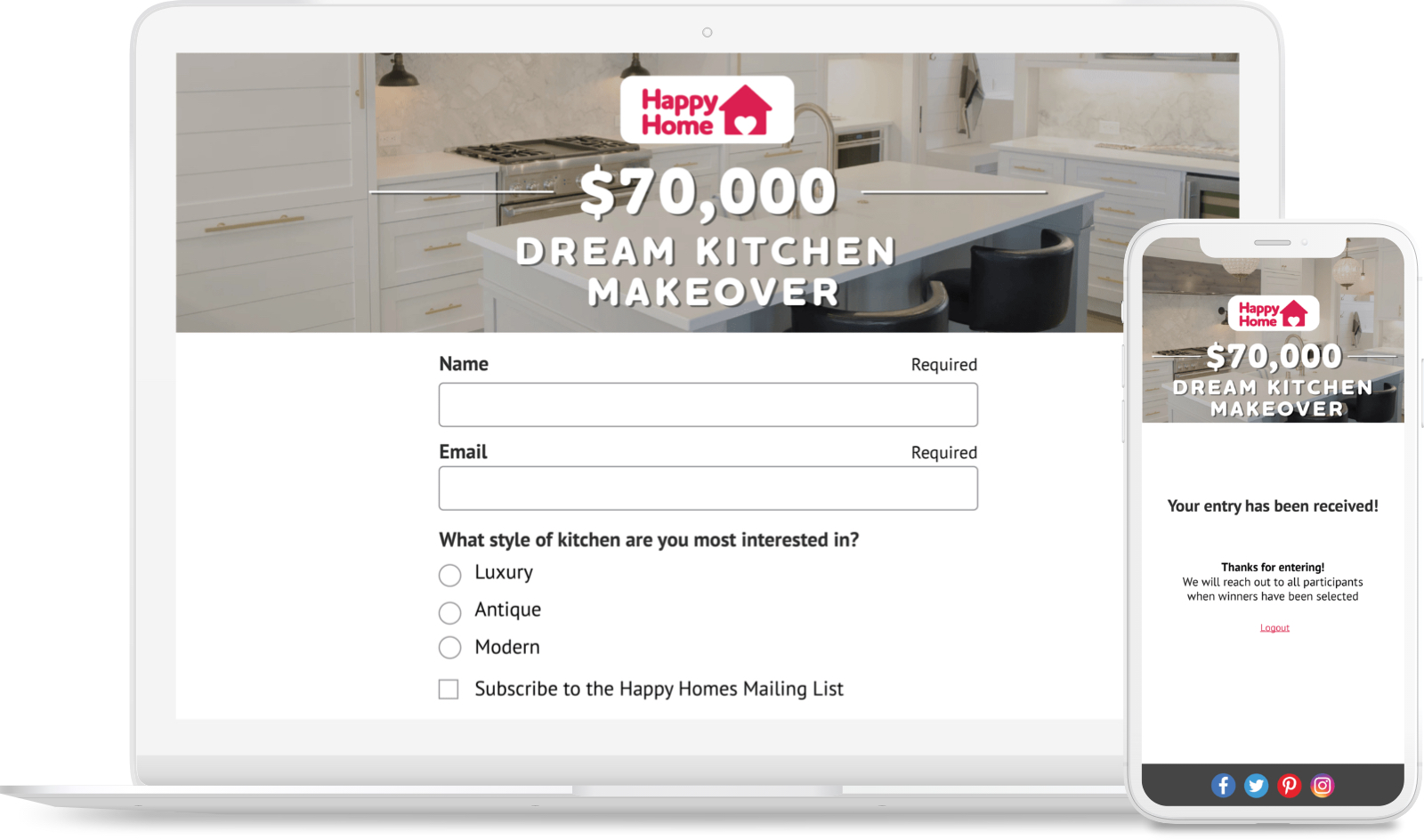 Dream Kitchen Makeover sweepstakes with a lead-gen survey question.