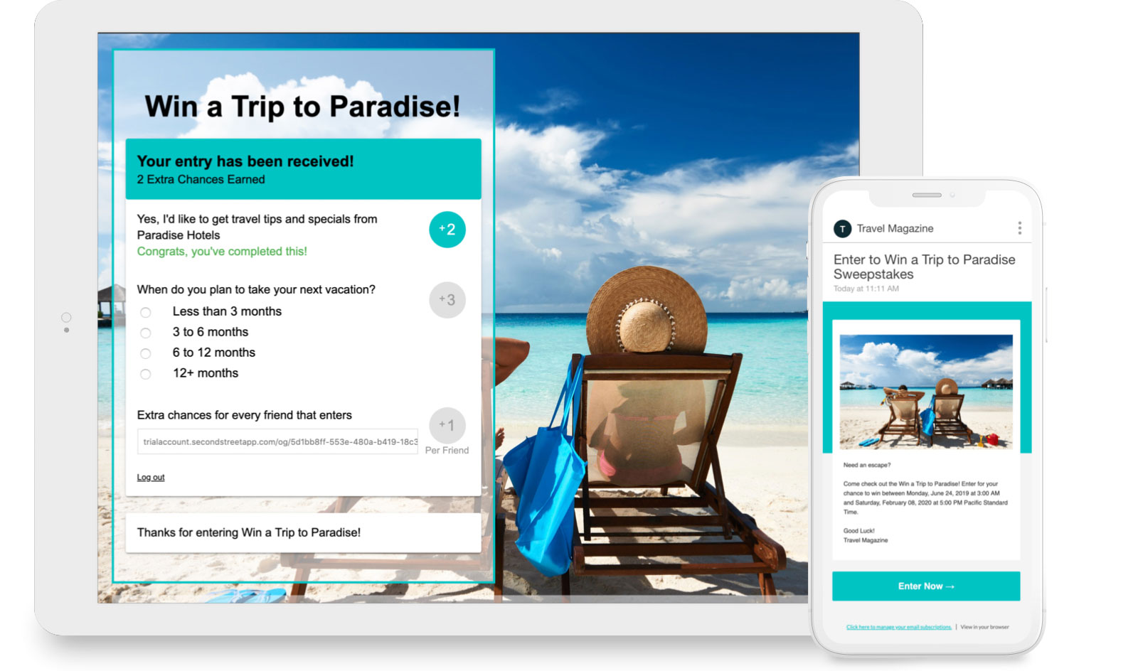 Win a Trip to Paradise sweepstakes with extra chances and an invite email.
