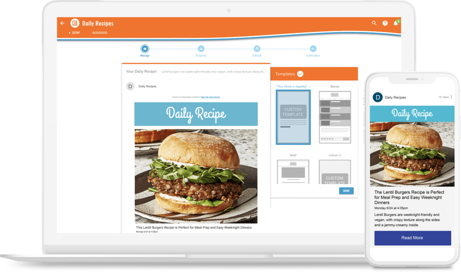 Daily recipe newsletter featuring a lentil burger.