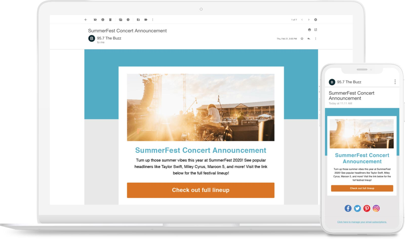 Invite email to an upcoming concert.