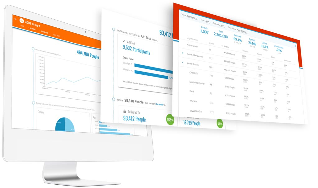 Audience growth database, A/B test email dashboard, and email comparison report.