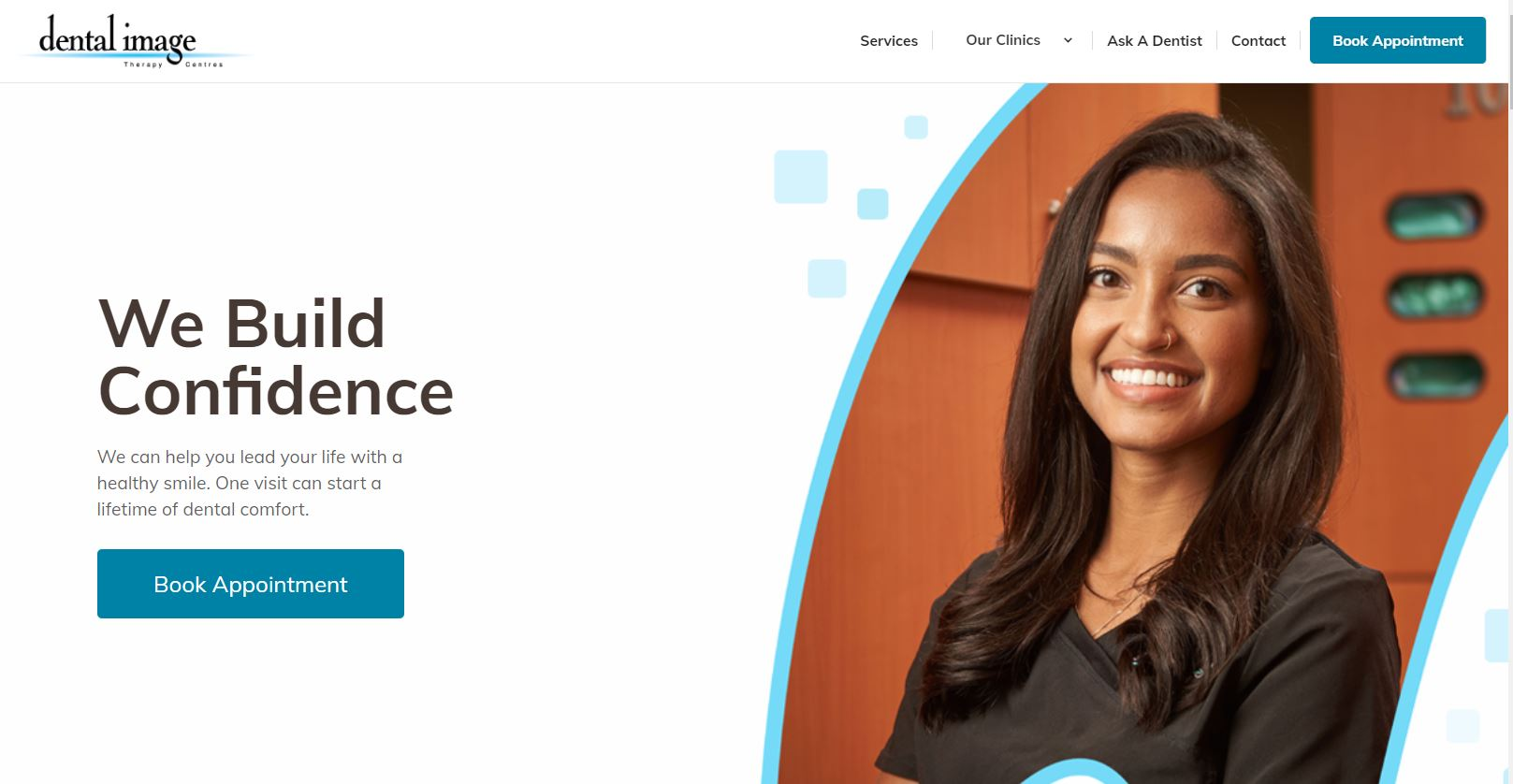 Screenshot of DentalImage.ca home page that has strong SEO - it features a smiling female dentist