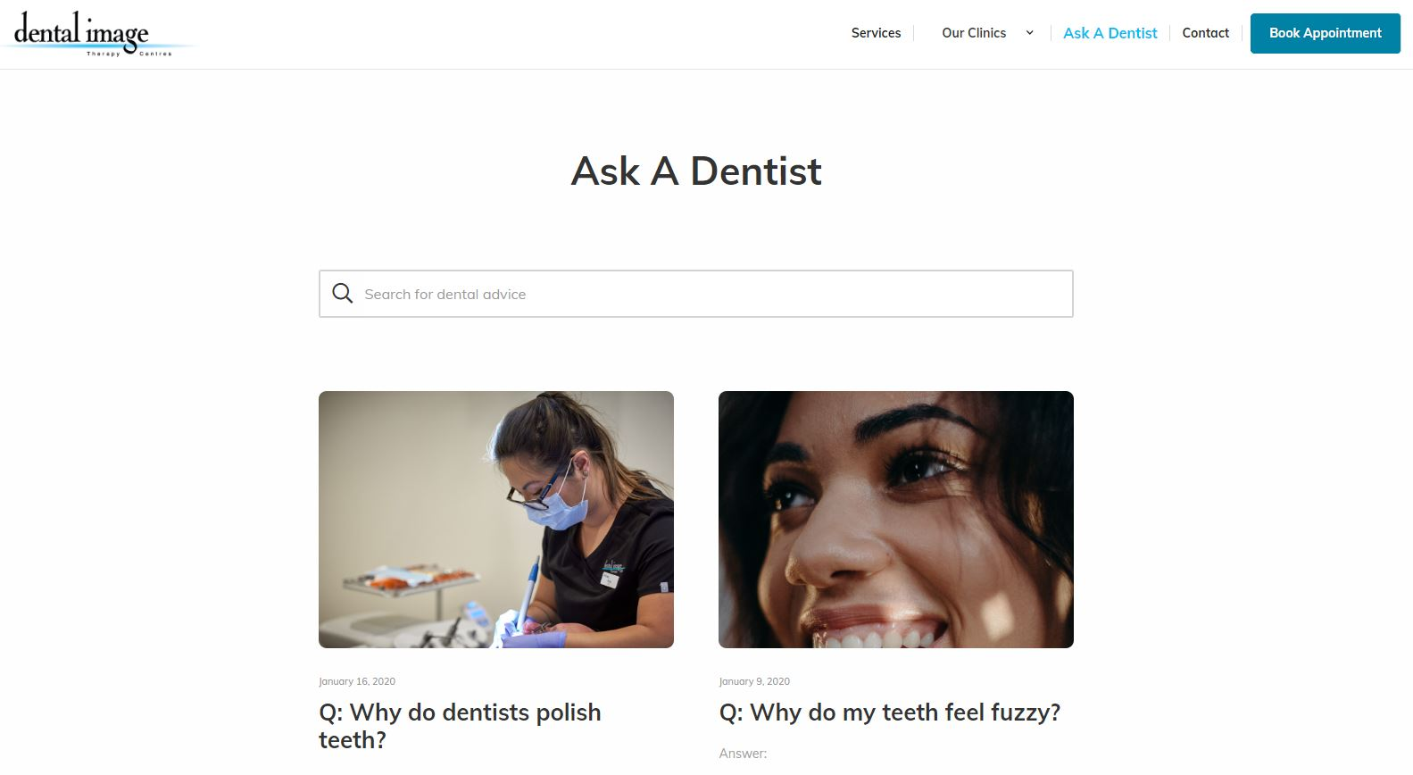 Screenshot of Dental Image's Ask A Dentist blog page