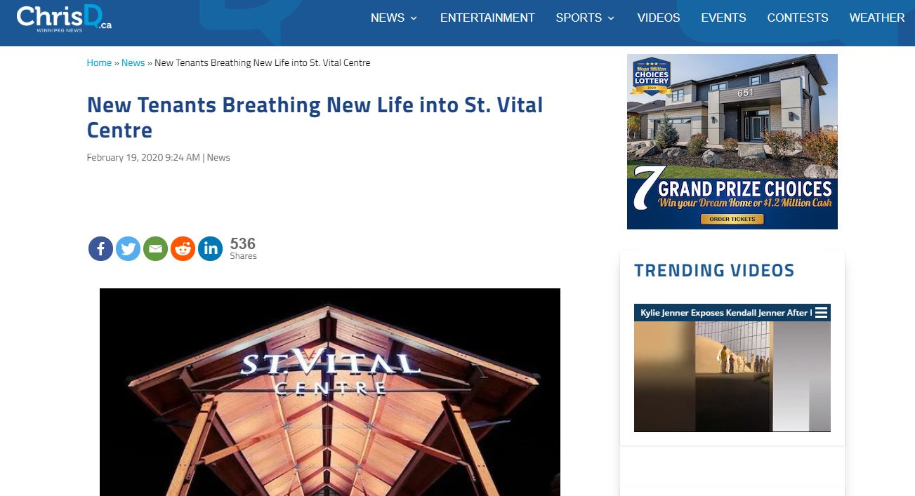 Screenshot of Chris D dot C A story about St. Vital Centre's new stores