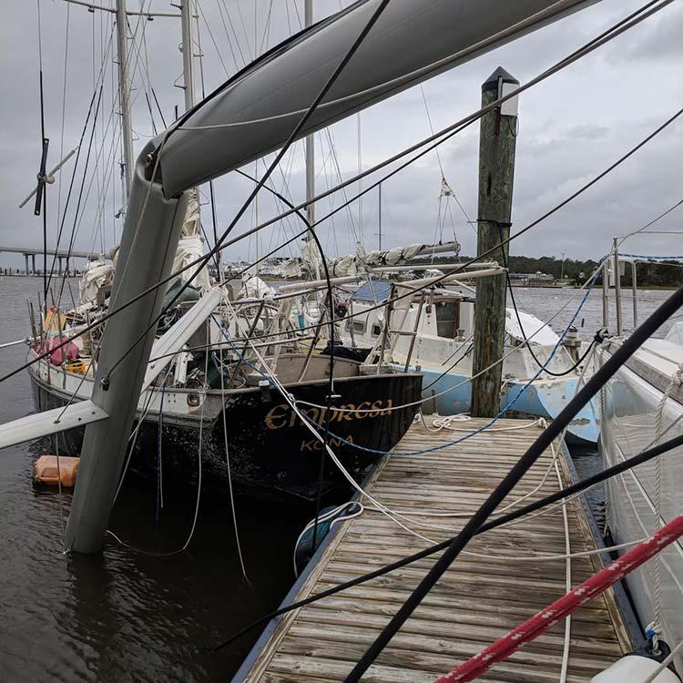 Dismasted Sailboat