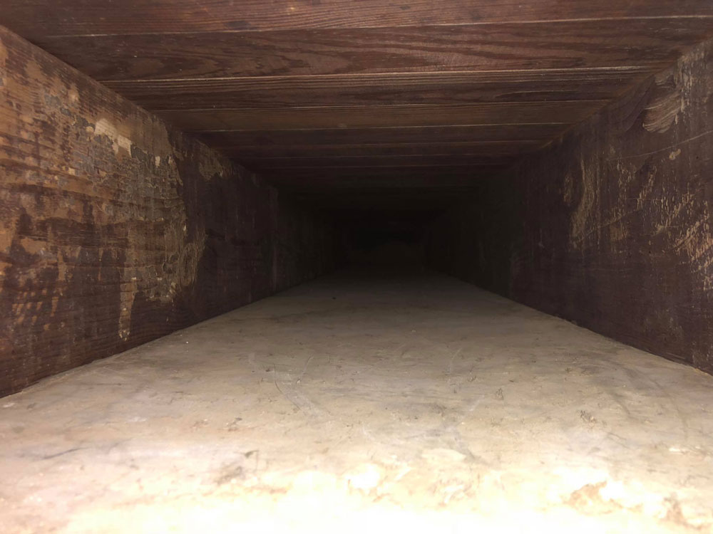 Air duct after being cleaned