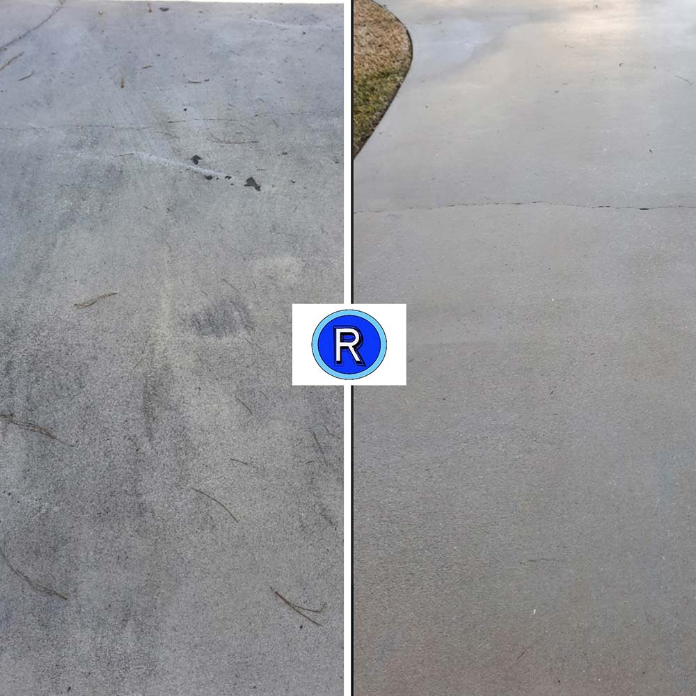 Driveway before and after being cleaned by Reeves Pressure Washing