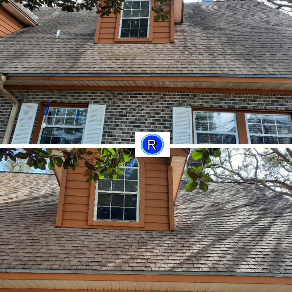 Roof cleaning before and after in Destin, FL