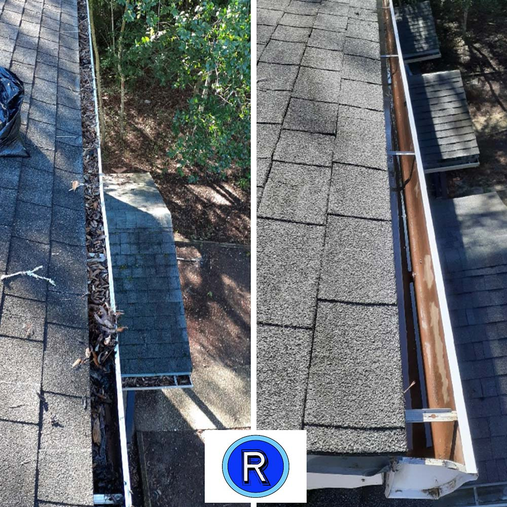 Gutter cleaning before and after photo in Destin