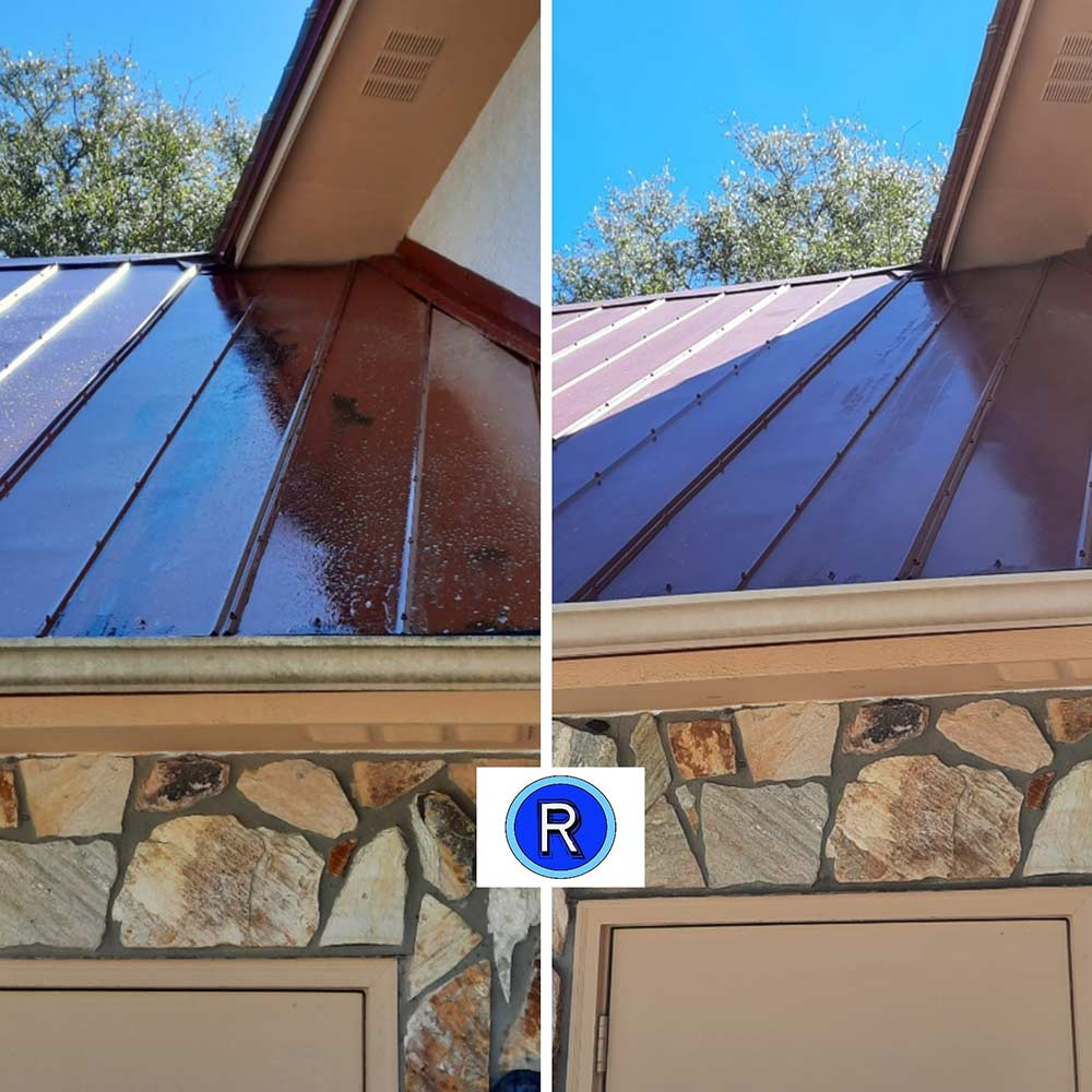 Navarre roof cleaning before and after by Reeves Pressure Washing