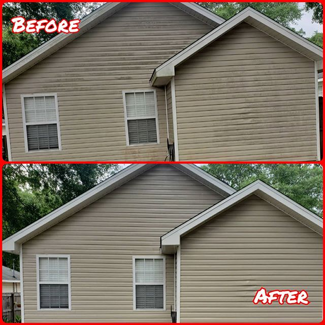 exterior property cleaning before and after