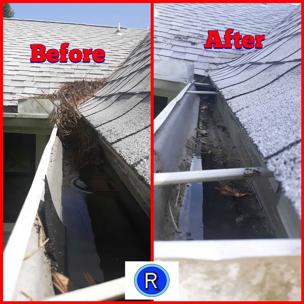 Gutter cleaning before and after, Fort Walton Beach