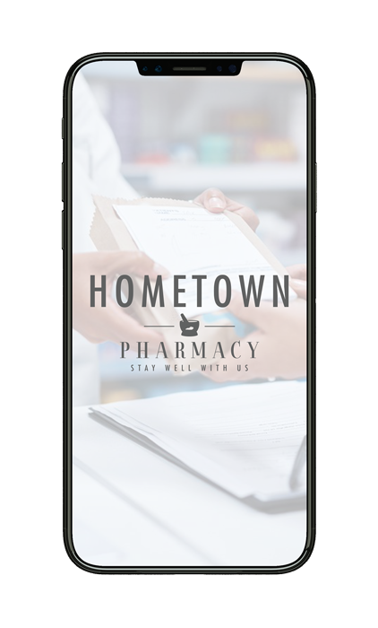 Mobile phone with Hometown Pharmacy on the screen
