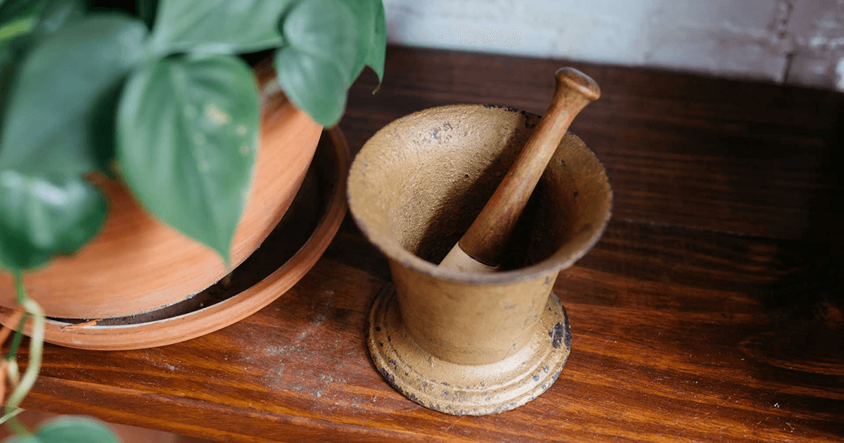 Mortar and pestel on a wooden table next to a plant