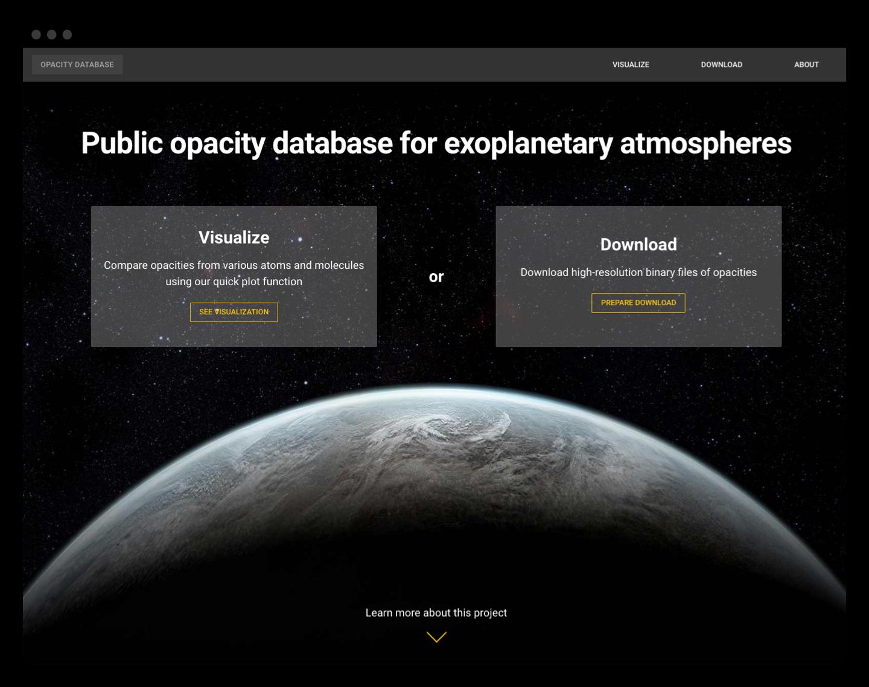 Opacity Database homepage