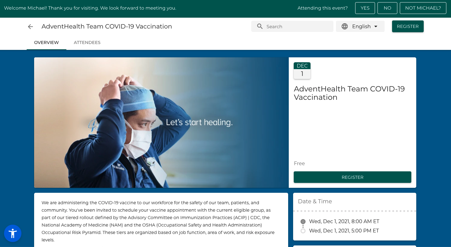 Event Landing Page - Blackthorn Events and AdventHealth