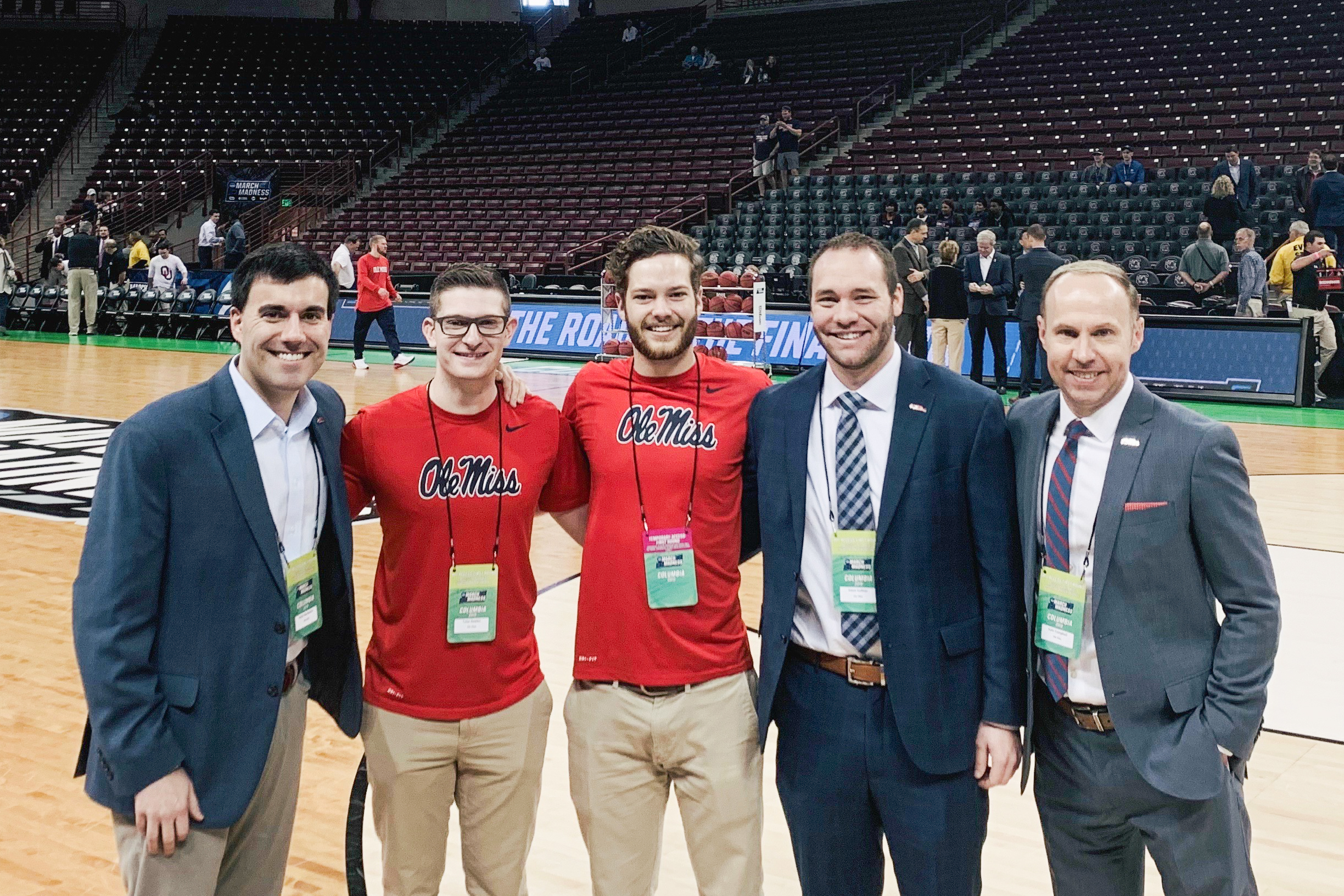 Paris Buchanan and co-workers before an Ole Miss vs. Oklahoma NCAA men's basketball tournament in Columbia, S.C., in March 2019. | Credit: Paris Buchanan