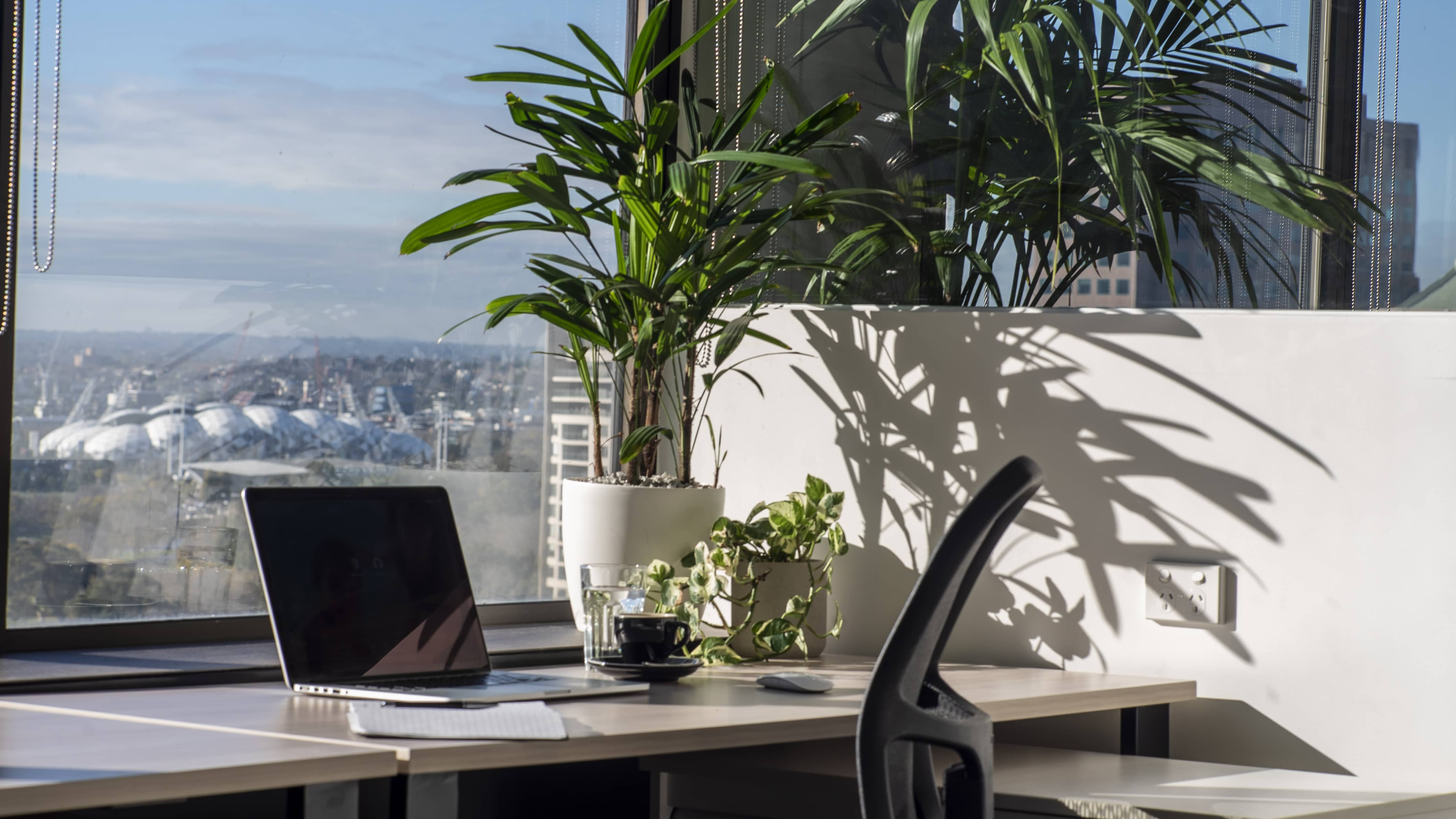 Coworking Desk with MacBook and coffee in front of  views of Melbourne CBD