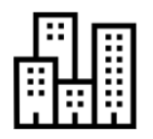 Small icon showing multiple highrise buildings in proximity with one another.