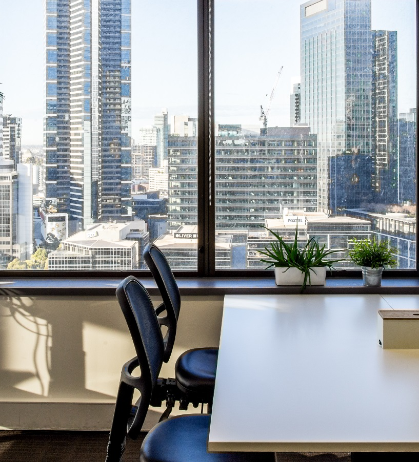 Desk space looking over Melbourne CBD