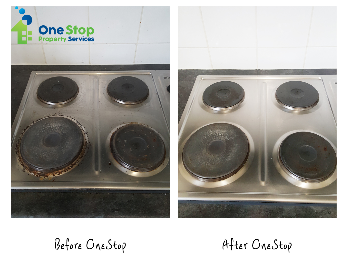 Before and after cleaning the induction