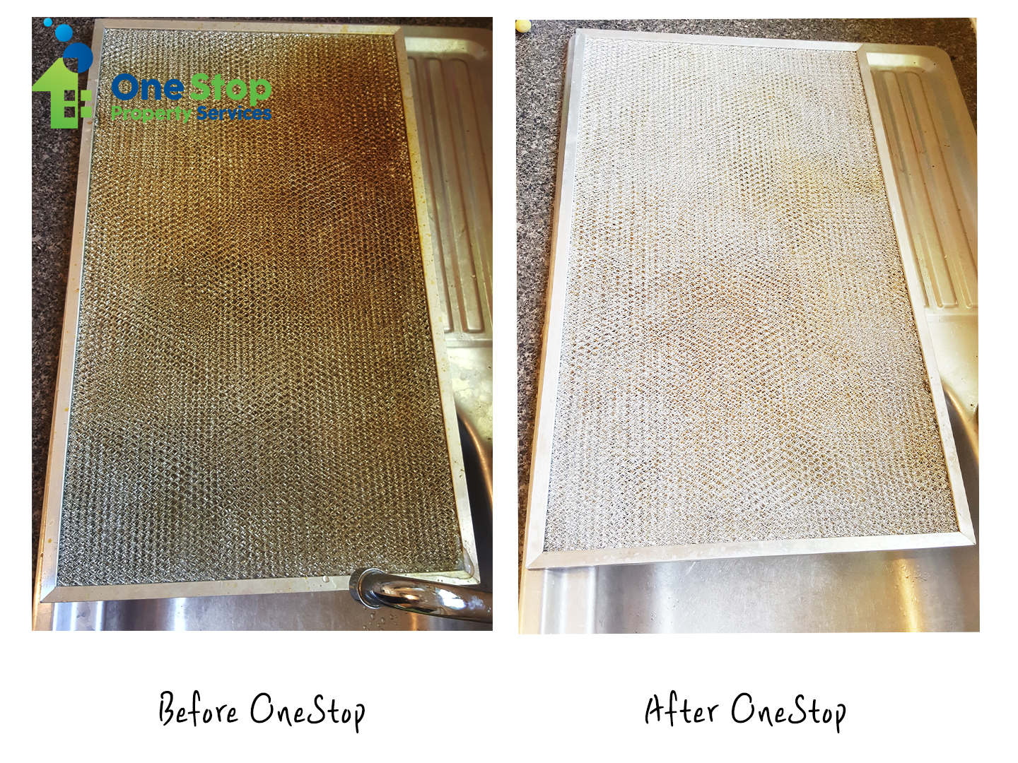 Before and after cleaning the kitchen induction vent filter