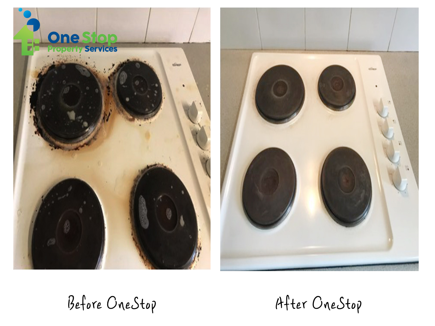 Before and after cleaning the induction at the kitchen
